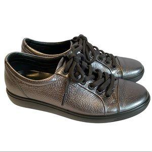 Ecco Women's soft 7 Pewter Metallic Sneaker Eu38